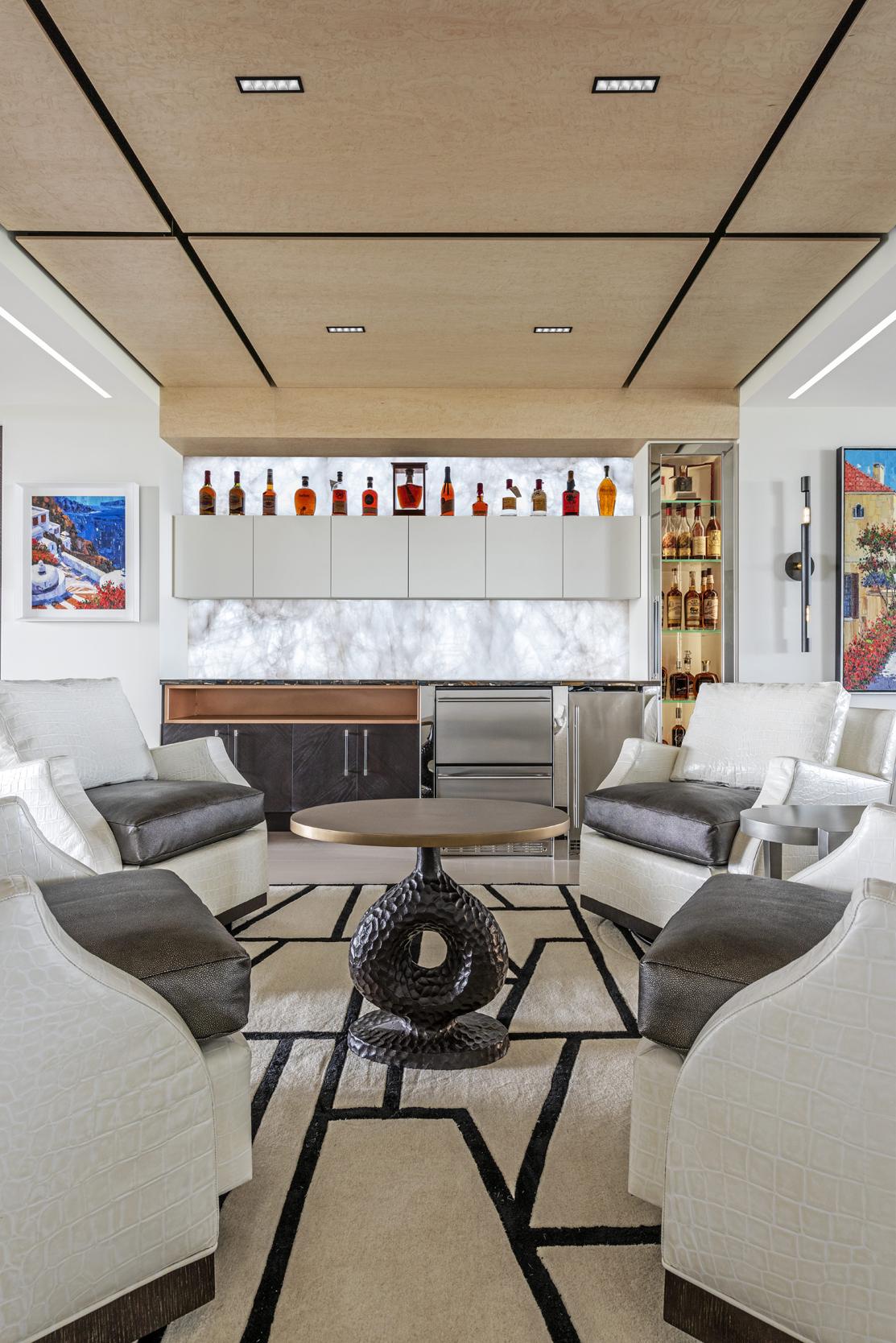 Double Illuminated Stone Bourbon Bar Leather White Couches
