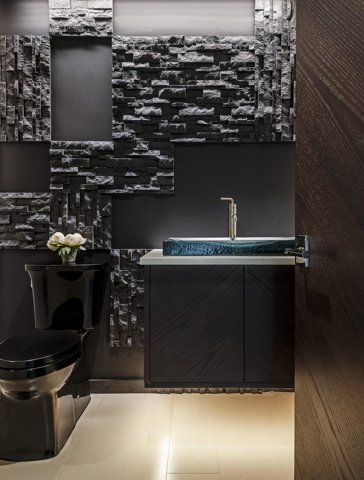Dramatic Black Powder Bathroom Blue Glass Sink Door