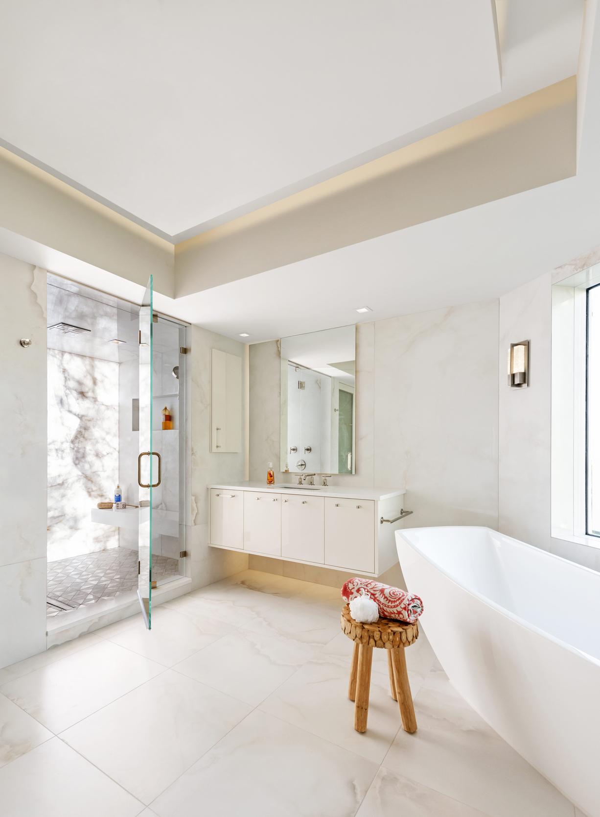 Illuminated Stone Shower Modern White Bathroom