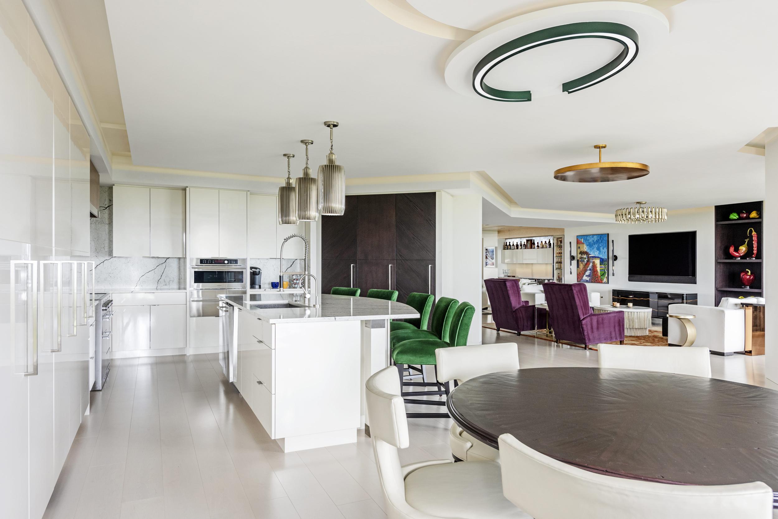 White Kitchen Dinning Room Livingroom Panoramic