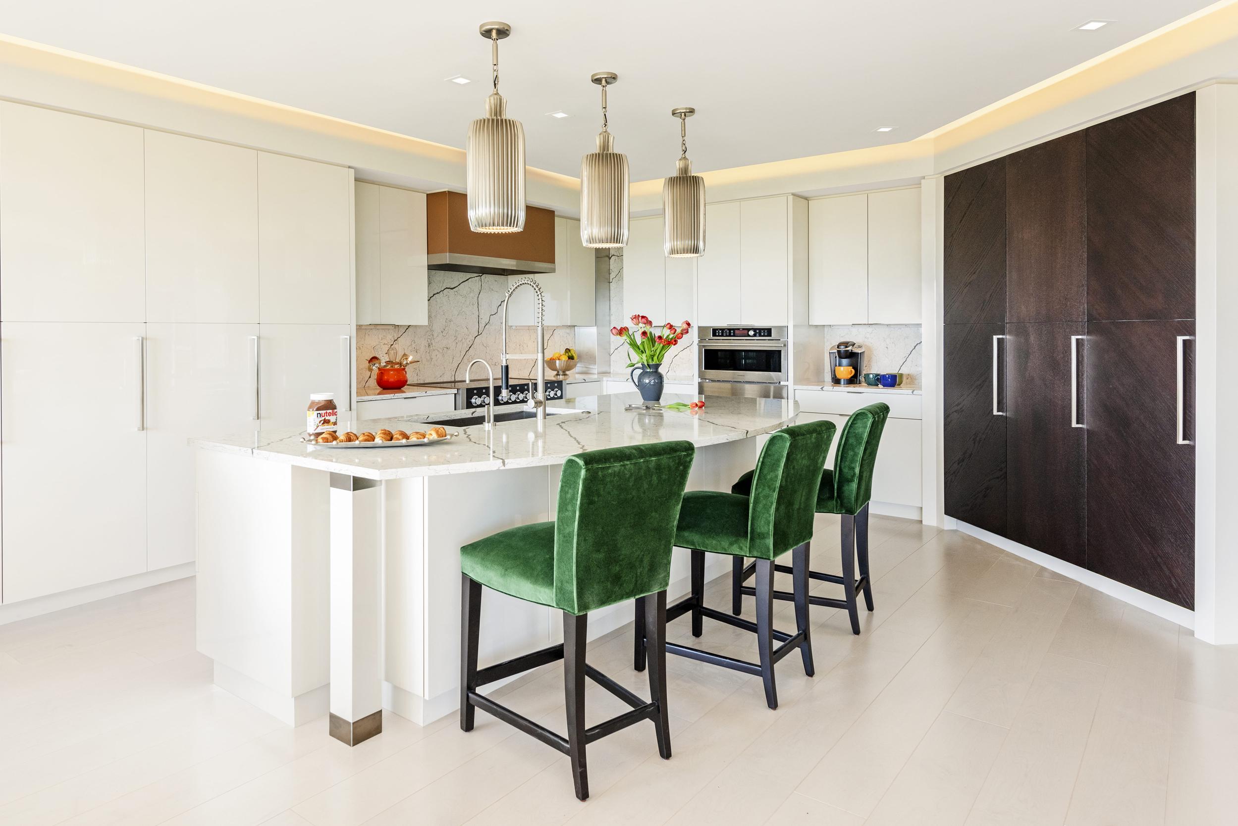 White Kitchen Green Bar Stools