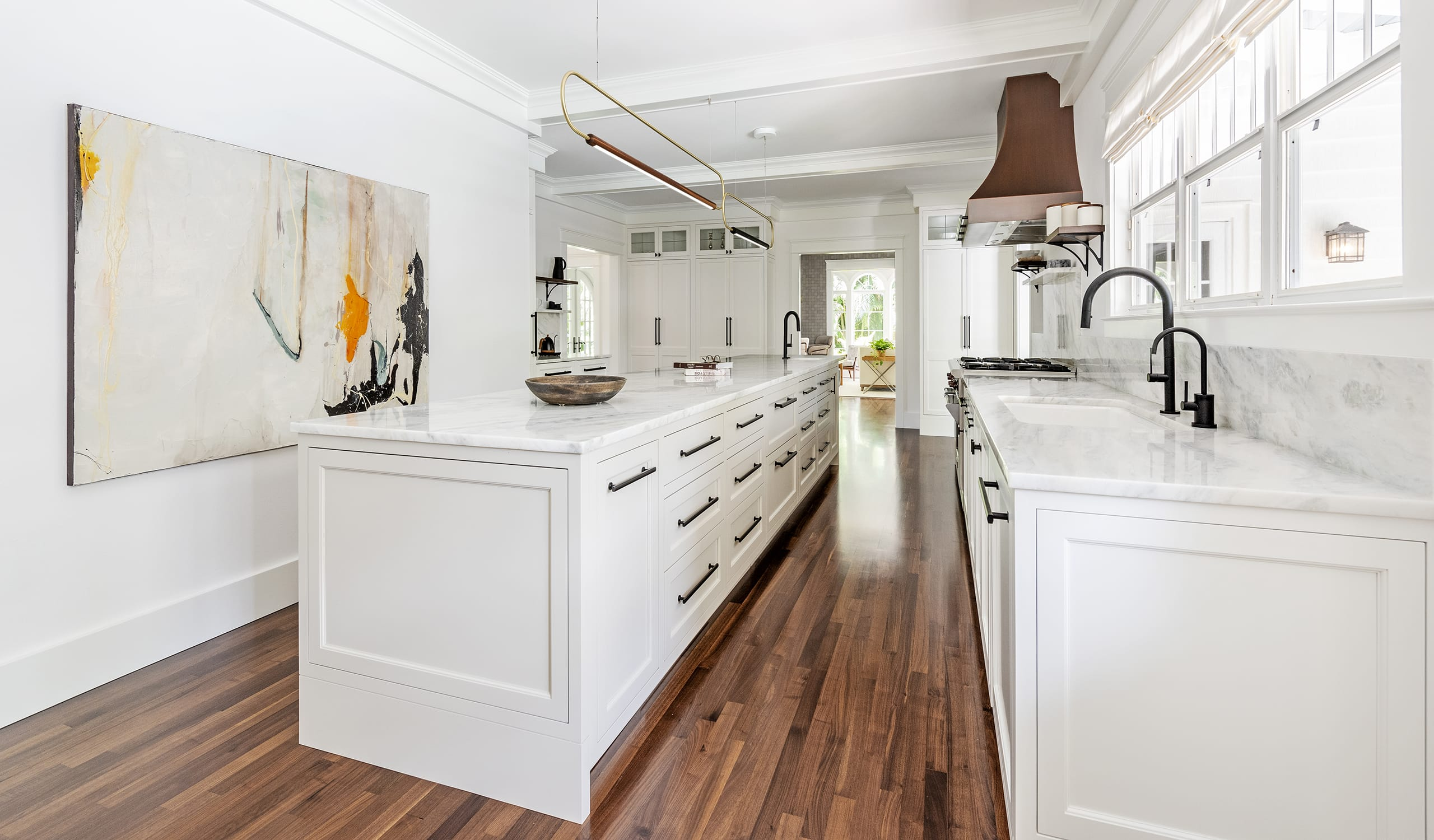 White Cabinets Marble Counter Kitchen Top Wood Floors