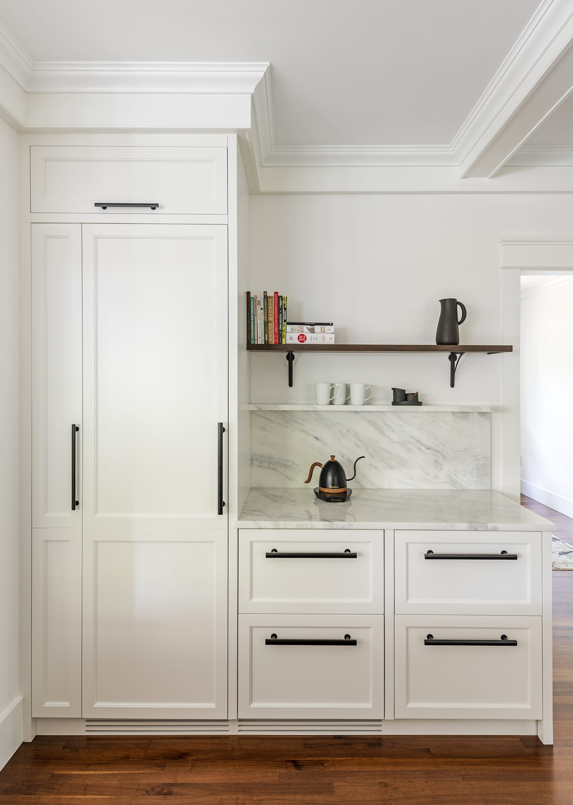White Cabinets Marble Counter Top Wood Floors