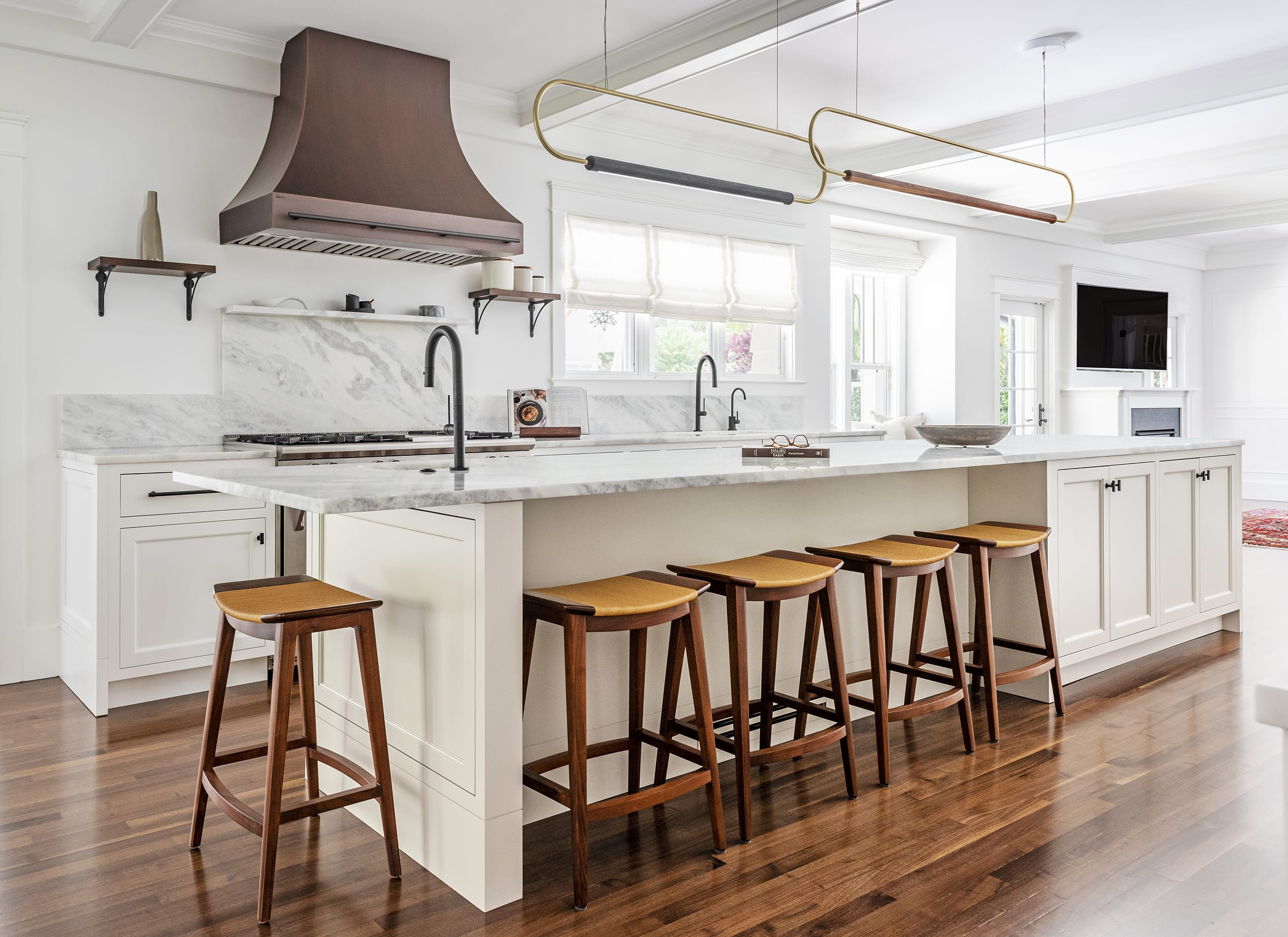 White Kitchen Cabinets Stalls Marble Counter Top Wood Floors