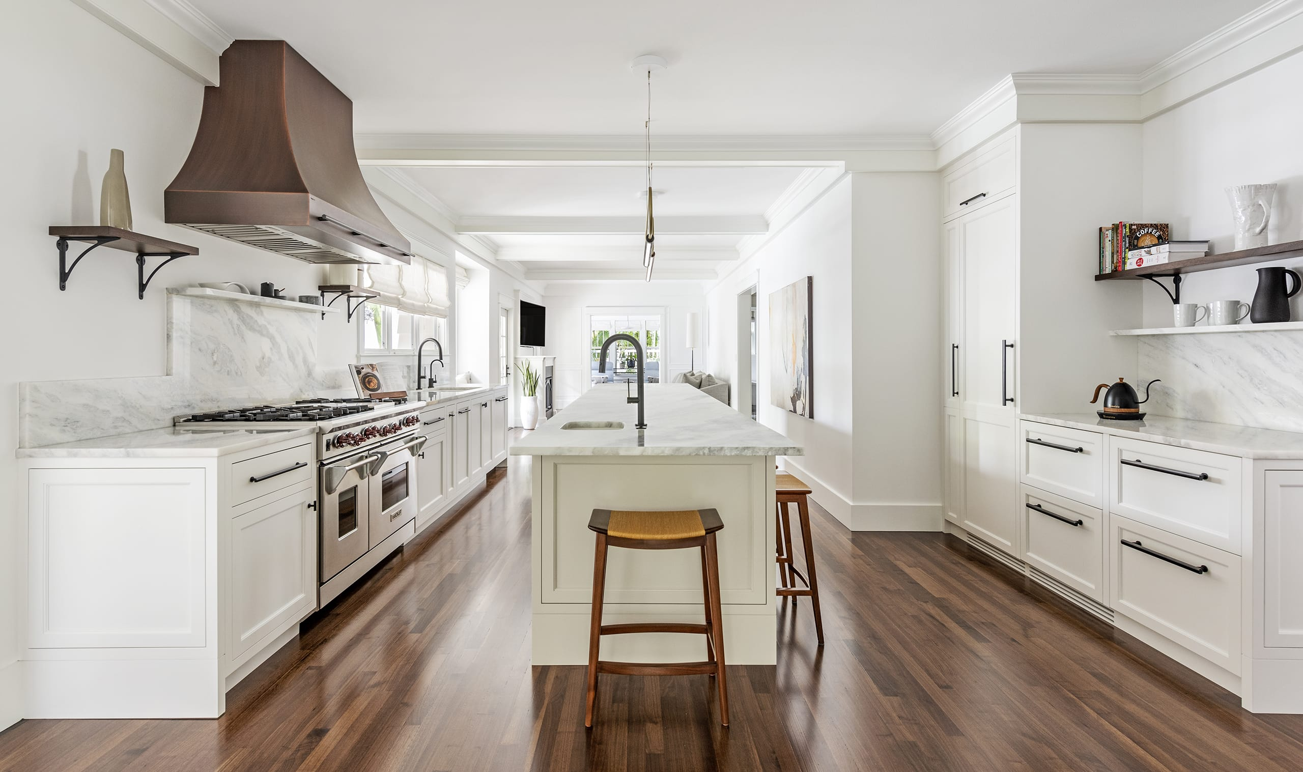 White Kitchen Straight Cabinets Marble Counter Top Wood Floors