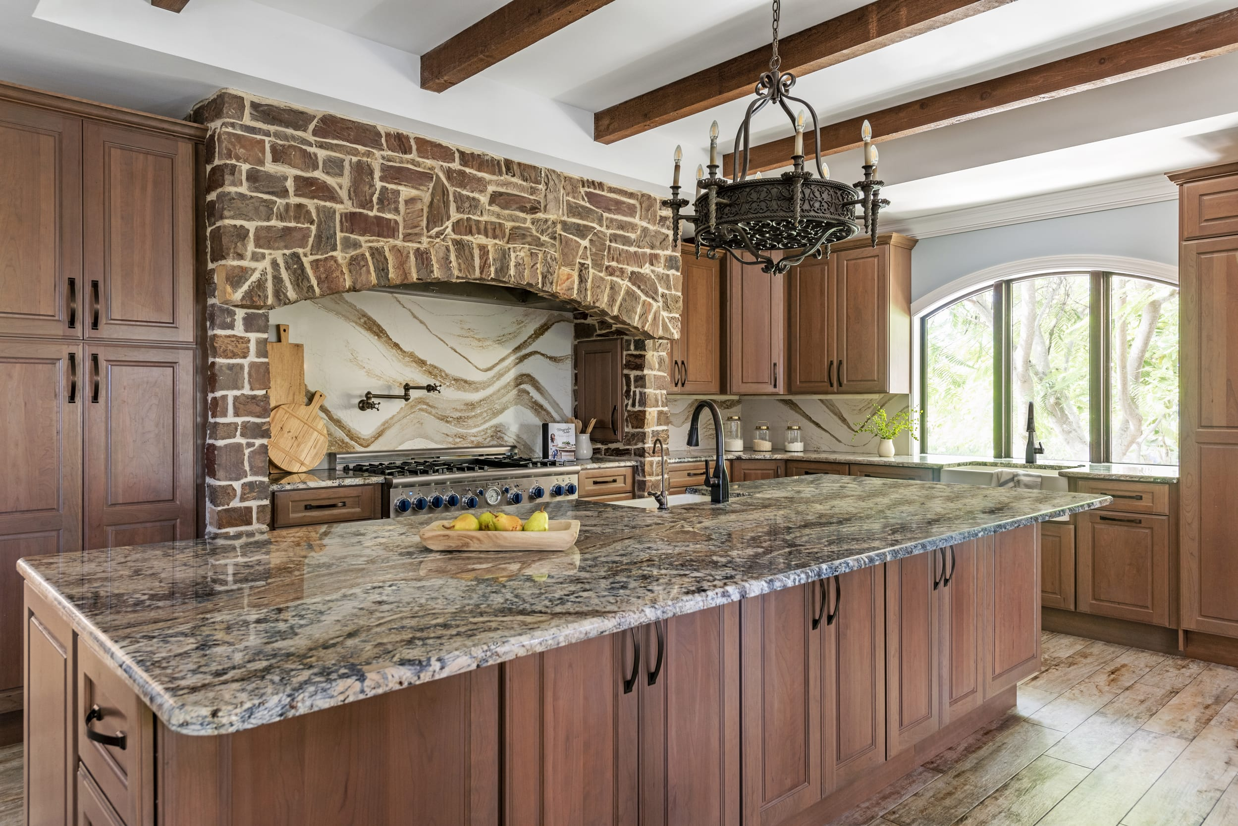 Rustic Kitchen Exposed Brick Wood Beams Stone Counter Top