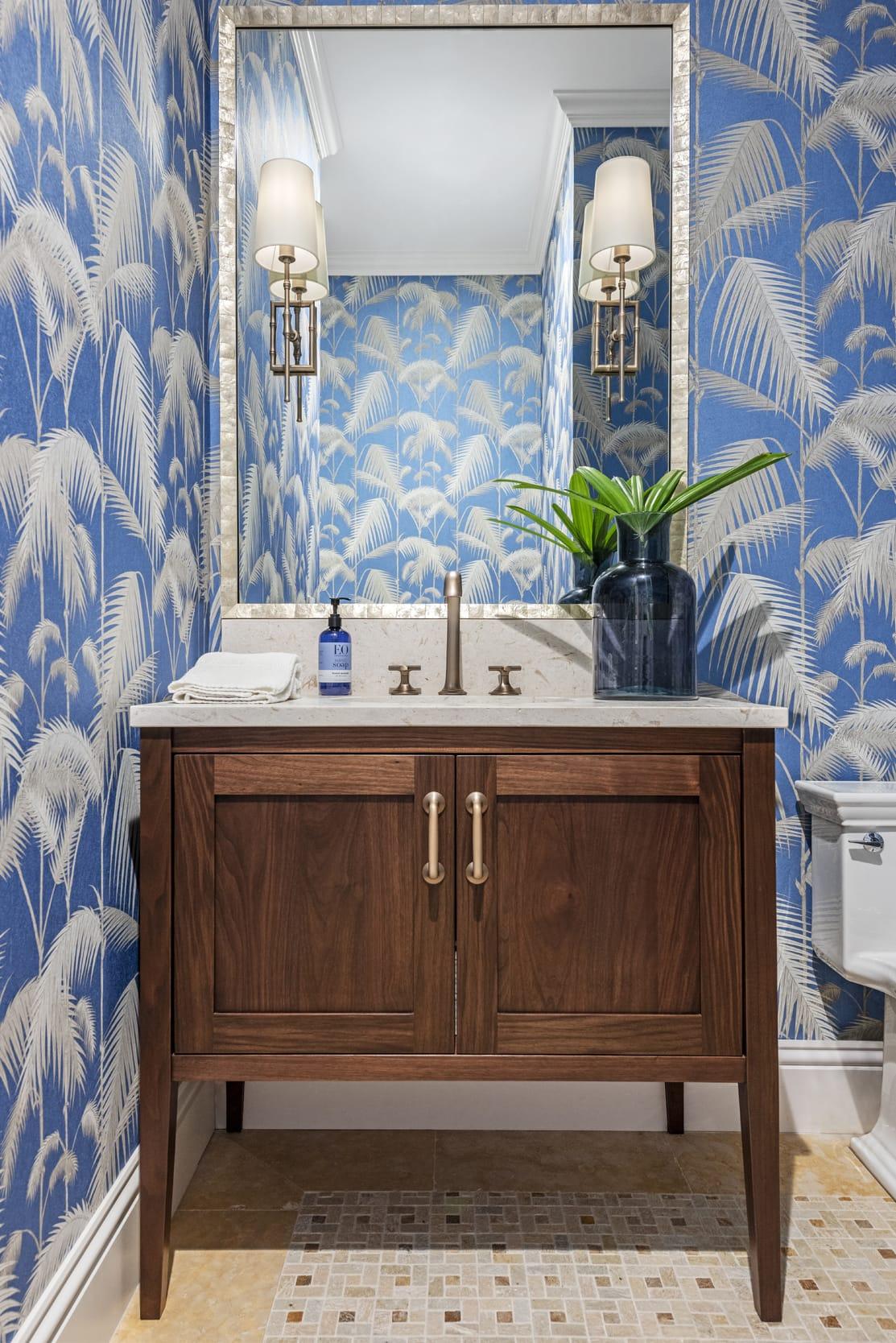 Jeffrey Fisher Home Dark Wood Cabinet Stone Sink Gold Fosset Blue Fern Wall Paper Mirror