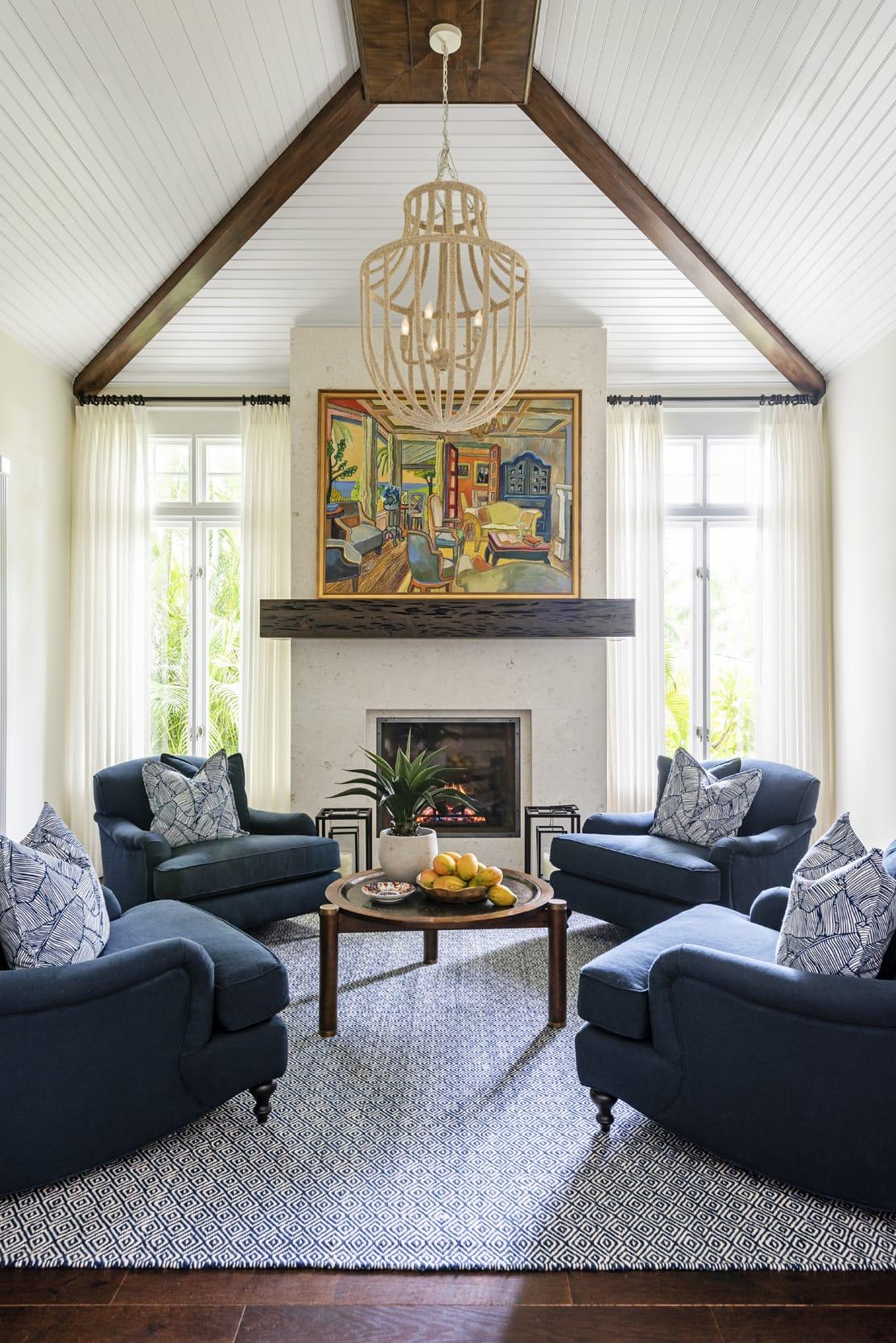 Jeffrey Fisher Home Dark Wood Navy Blue Arm Chairs White Blue Rug