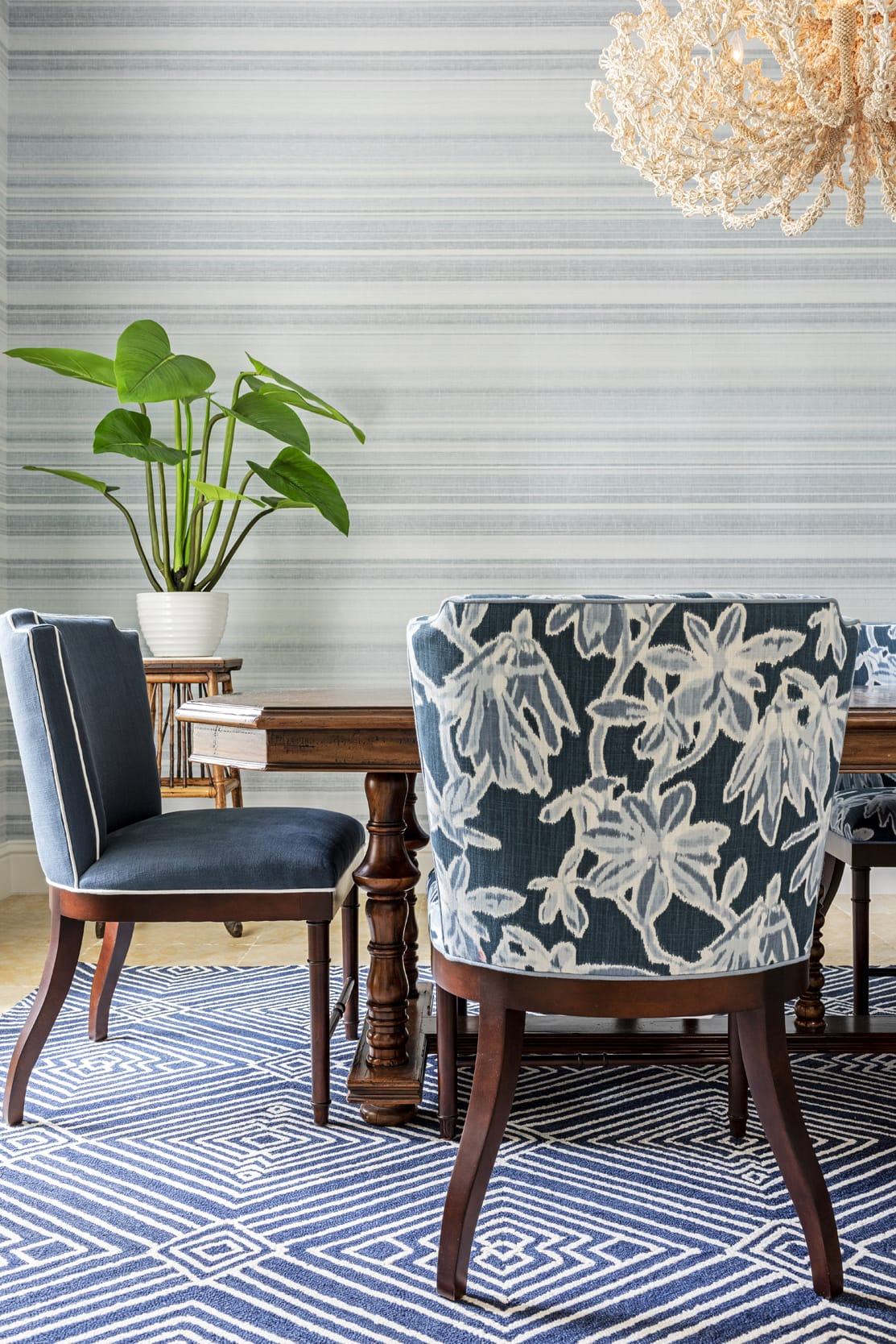 Jeffrey Fisher Home Dark Wood Table Cool Blue Linear Wall Paper Pattern Rug