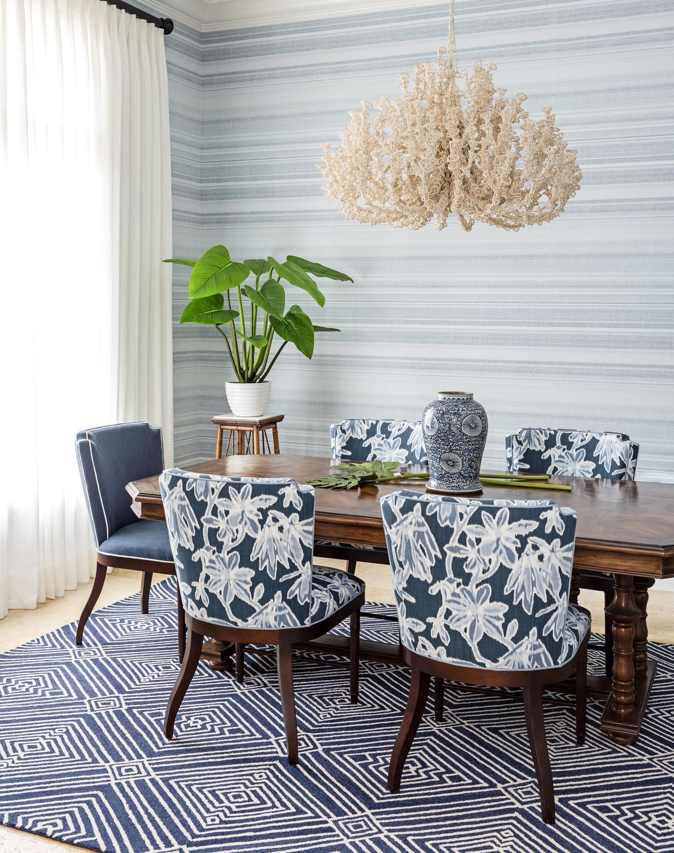 Jeffrey Fisher Home Dark Wood Table Cool Blue Linear Wall Paper