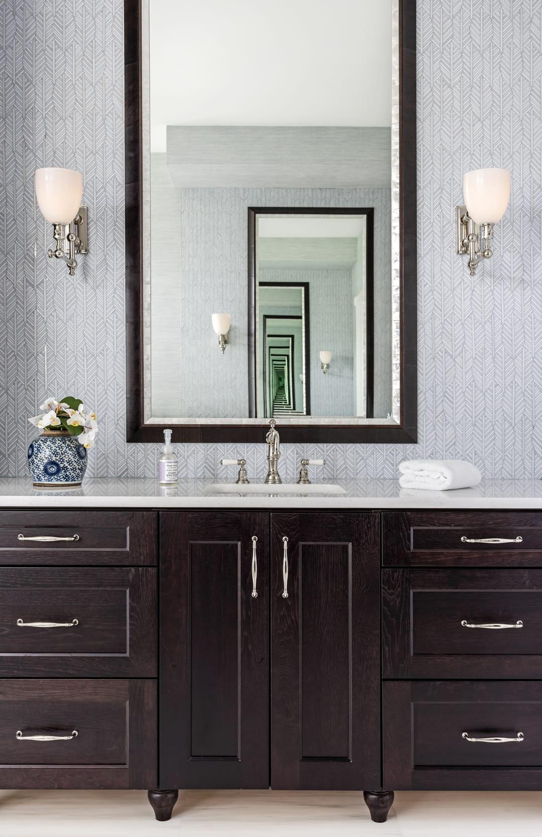 Jeffrey Fisher Home Light Blue Leaf Tile Bathroom Sink