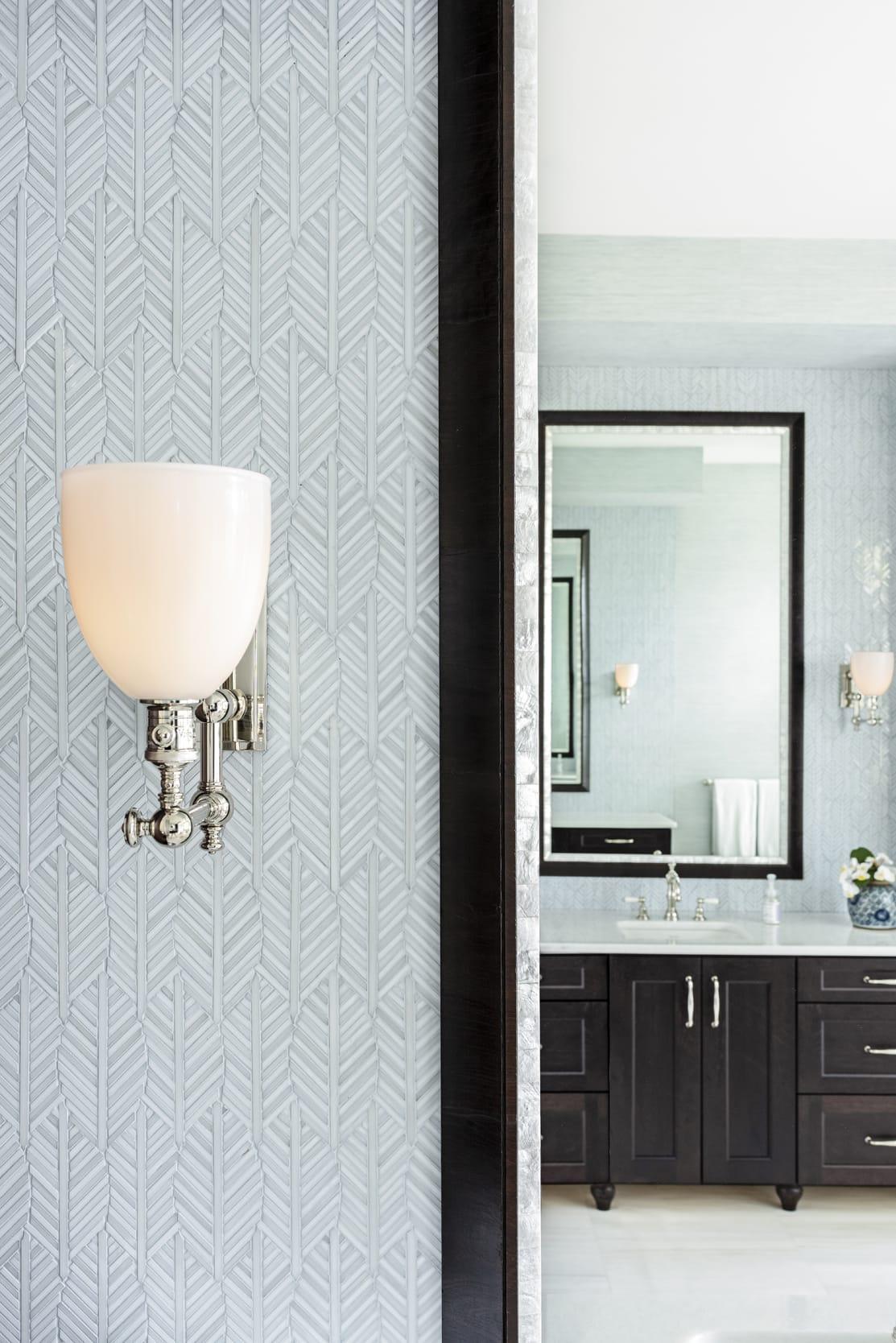 Jeffrey Fisher Home Light Blue Leaf Tile Bathroom