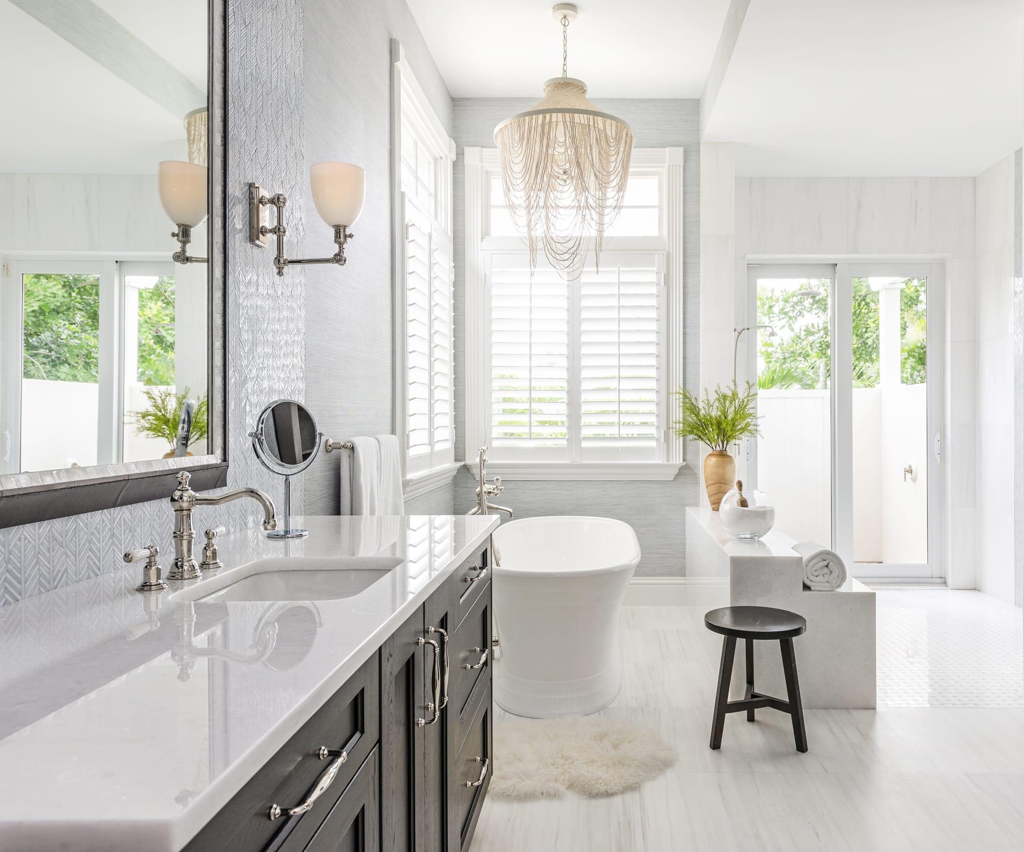 Jeffrey Fisher Home Light Blue Leaf Tile Master Bathroom Chandelier