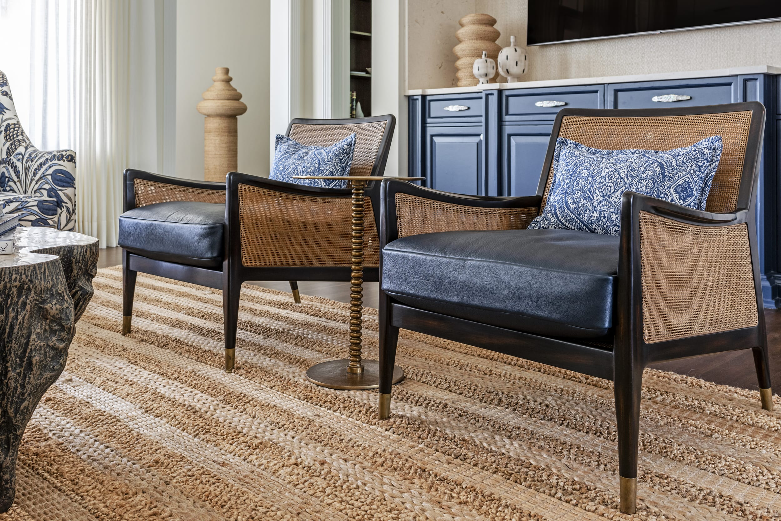 Jeffrey Fisher Home Stylish Arm Chair Navy