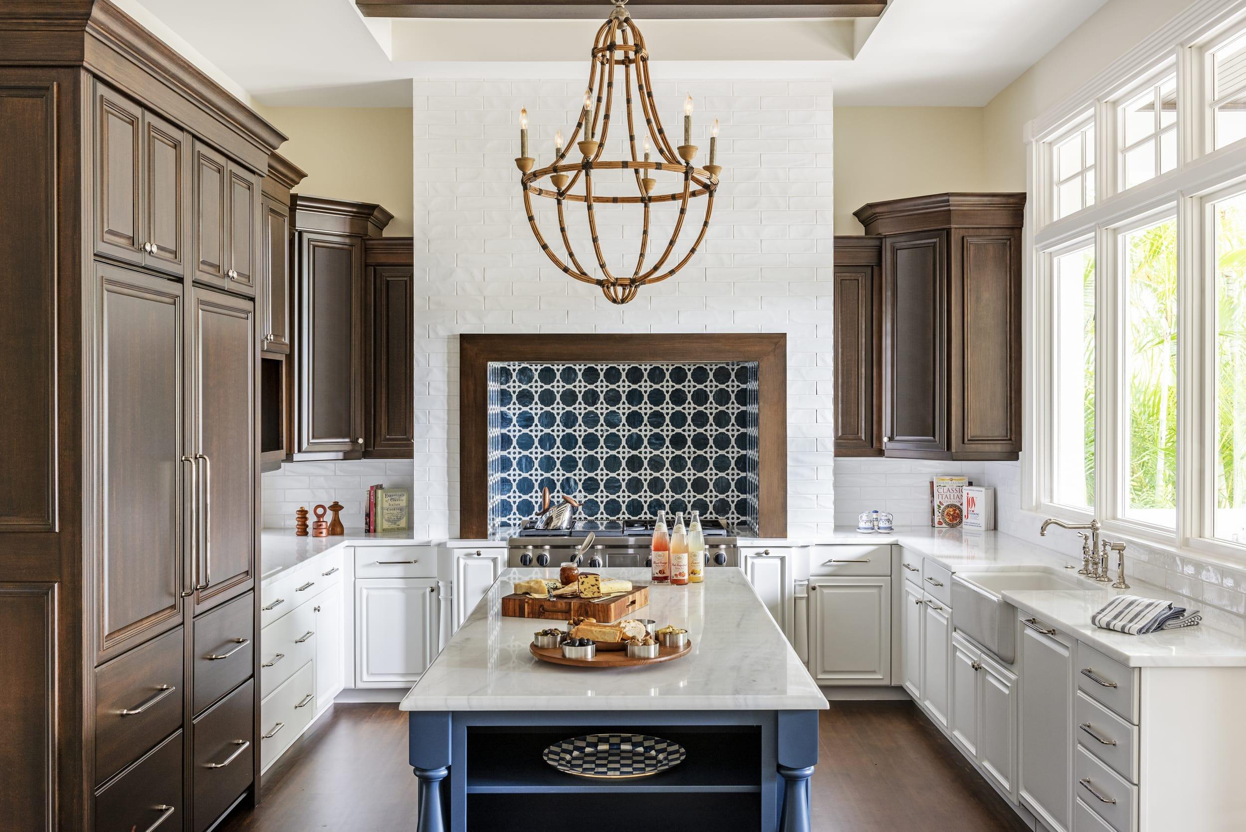 Jeffrey Fisher Home White Tile Kitchen Dark Wood Cabinets