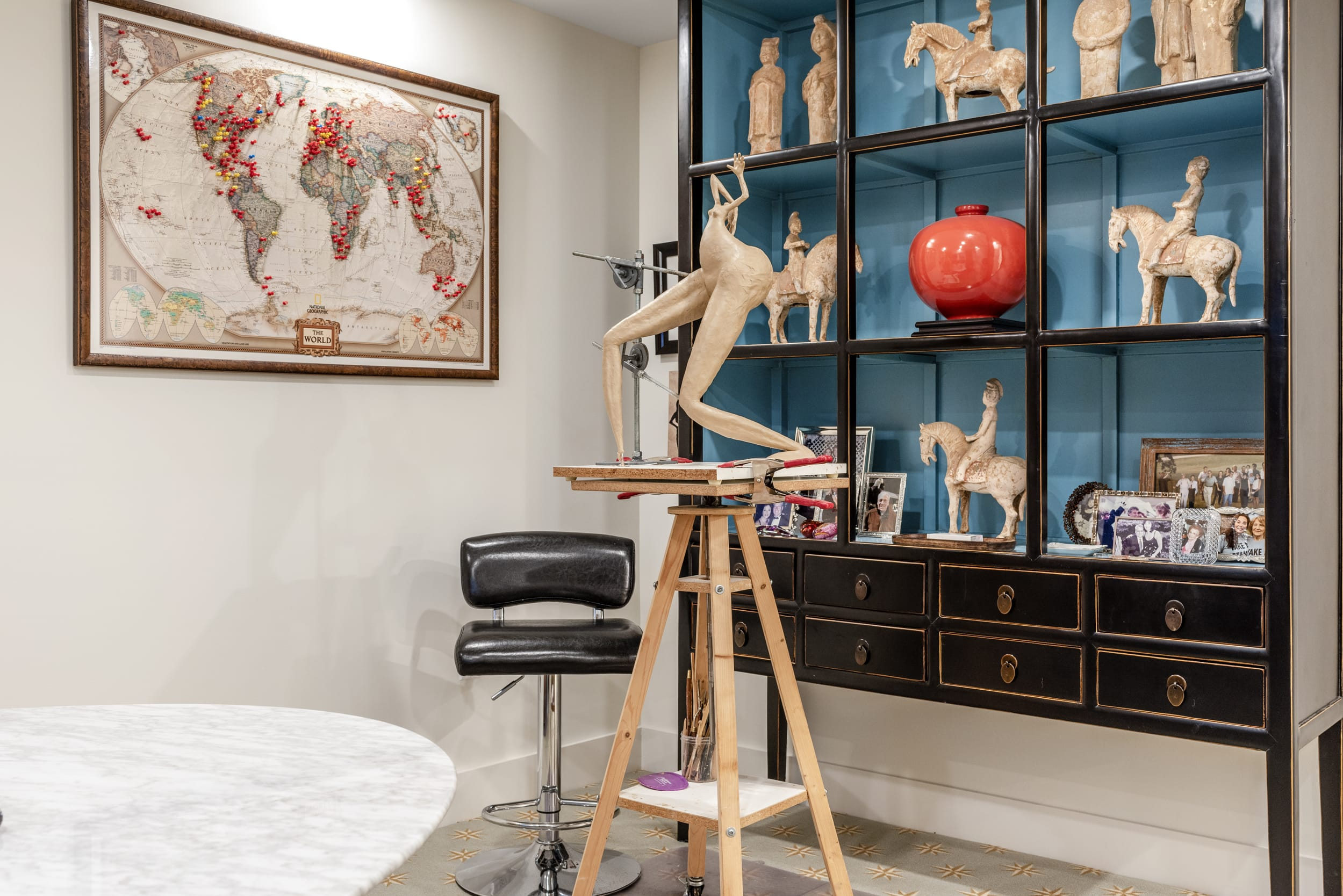 Ceramic Scuplture World Map With Red Pins Leather High Chair