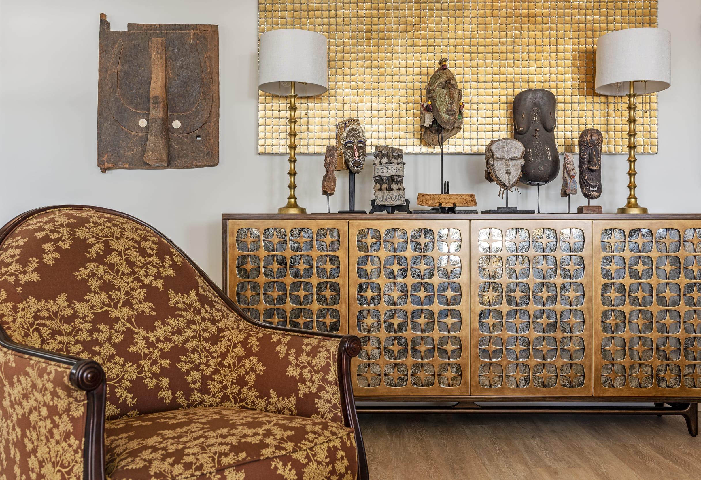 Classic Floral Dark Wood Arm Chair African Masks