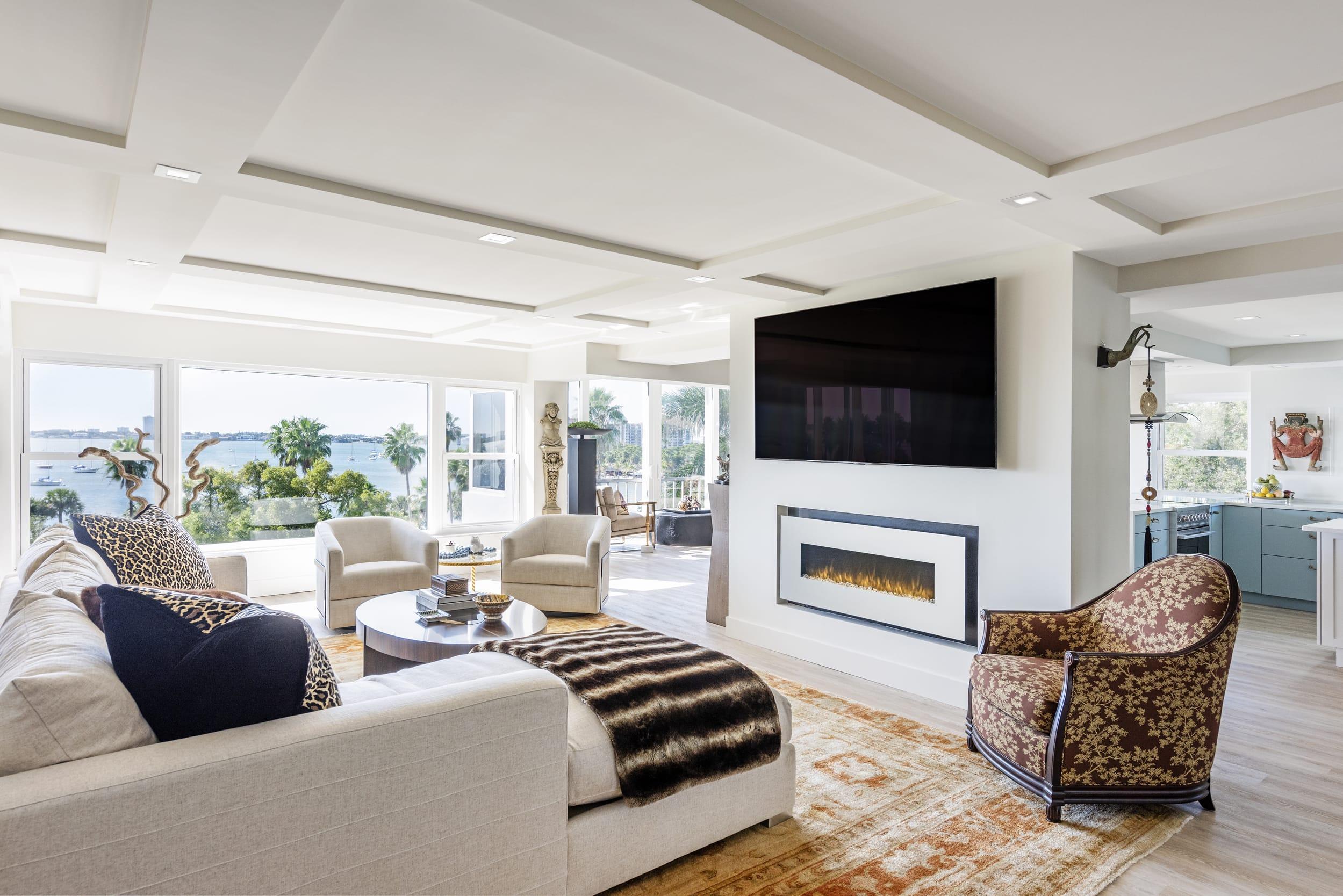 Coastal View Cultural Memento Livingroom Leopard Print Pillows Fire Display