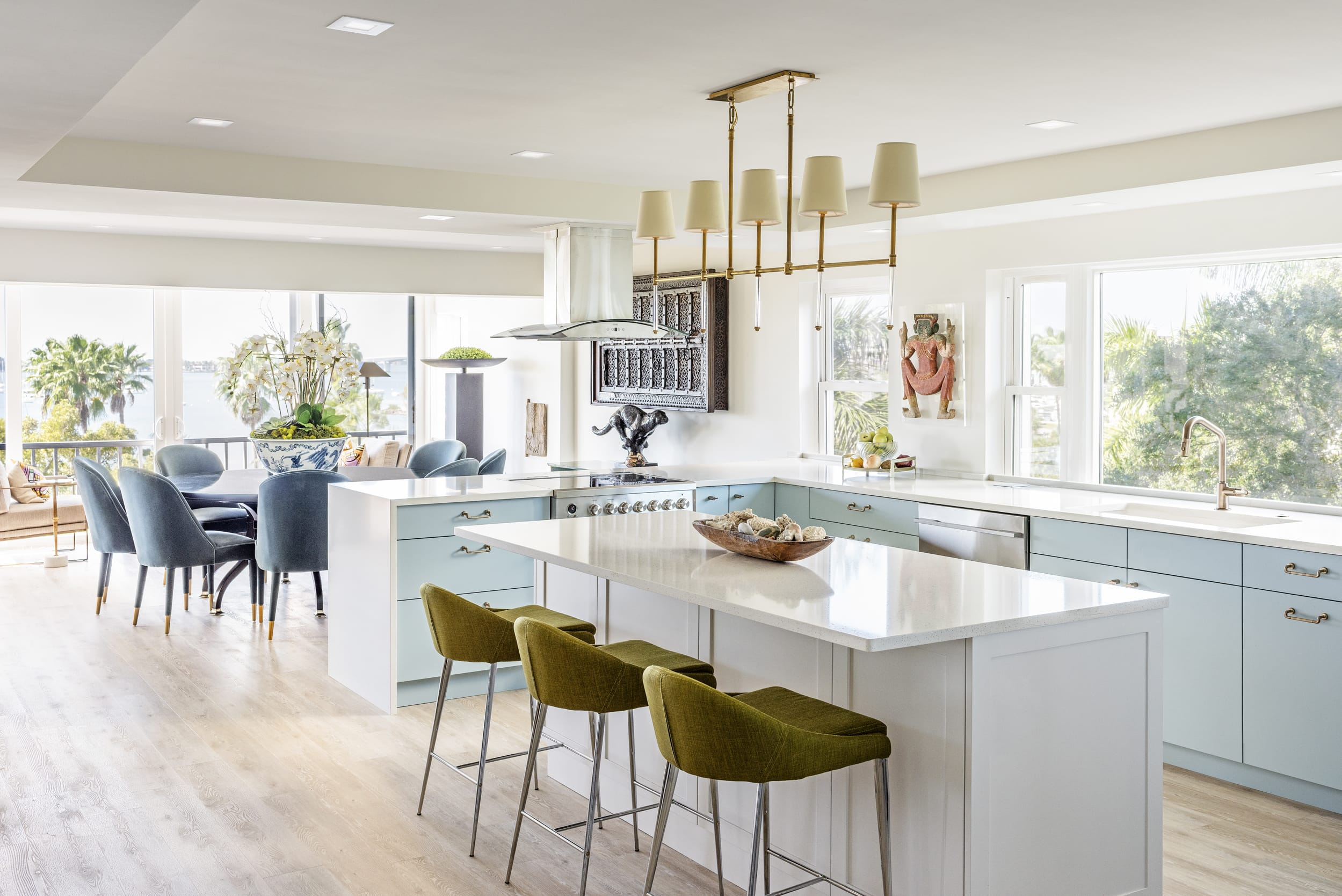 Open Plan Kitchen Light Blue Cabinets Pea Green High Chairs Blonde Wood Floors