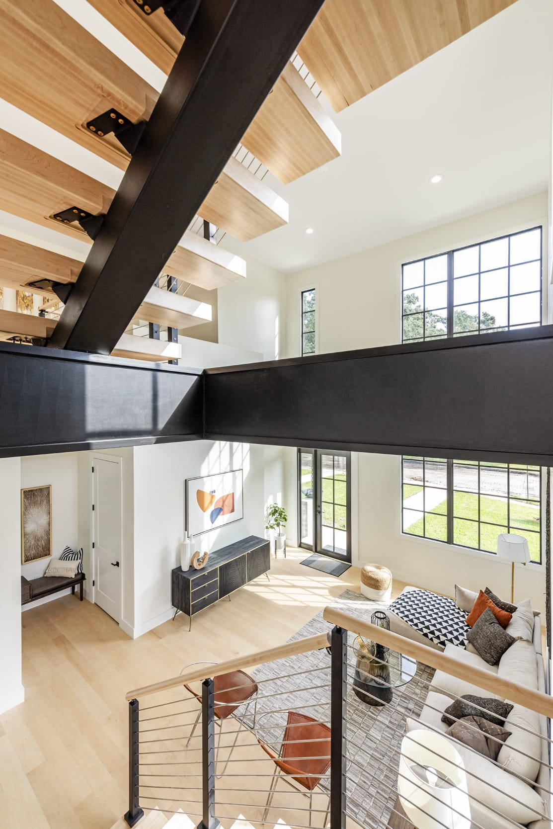 White Contemporary Livingroom Black Accents Beams