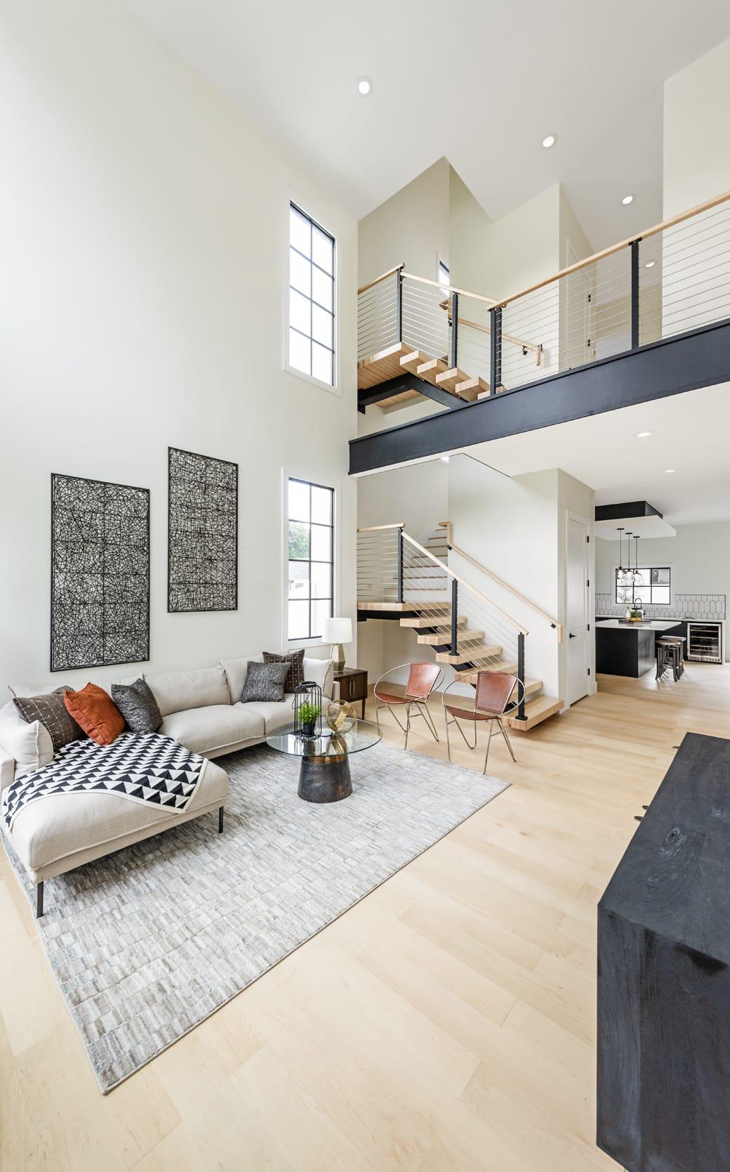 White Contemporary Livingroom Open Plan Split Level Black Accents