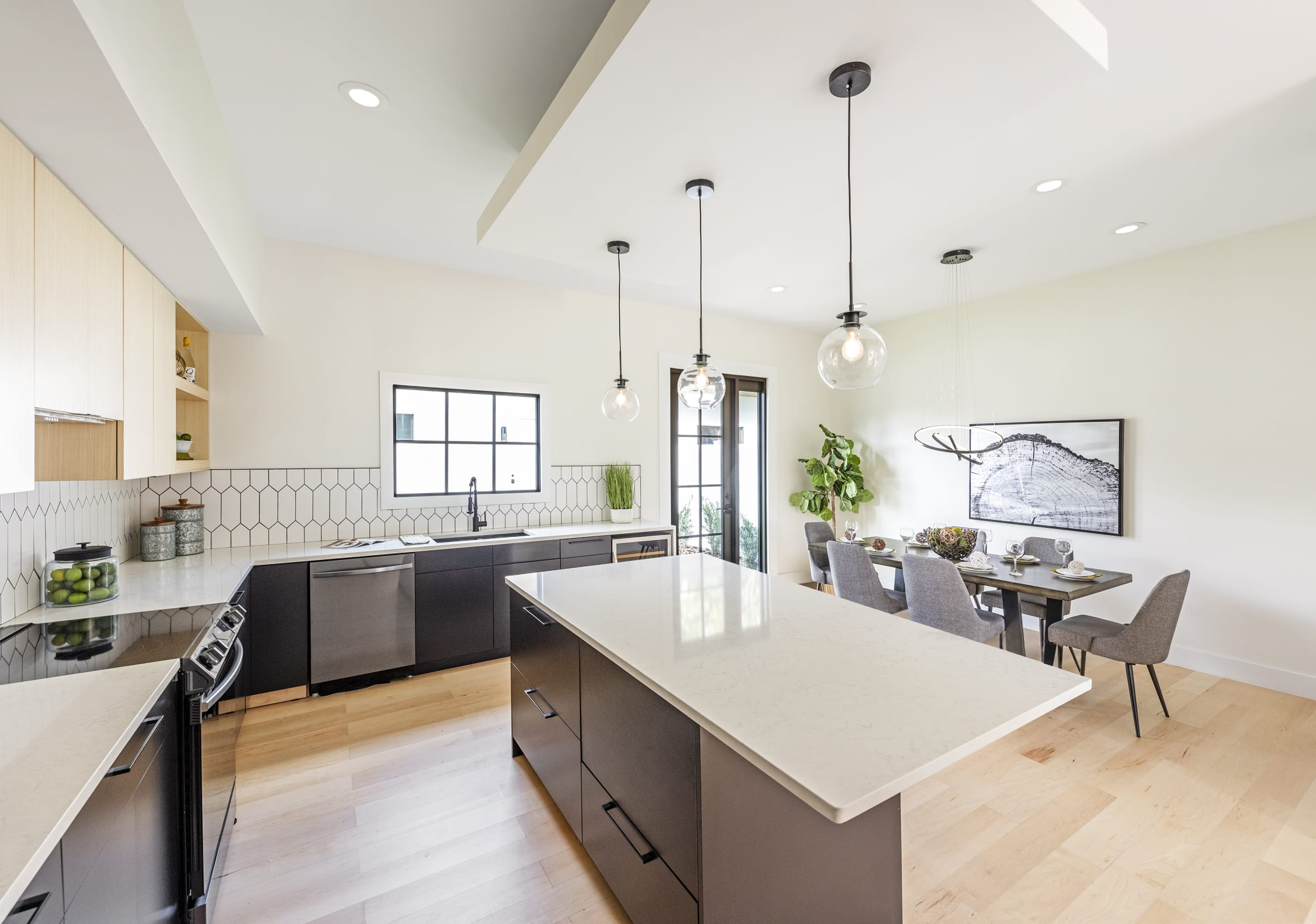 Black White Kitchen Contemporary Dining Table