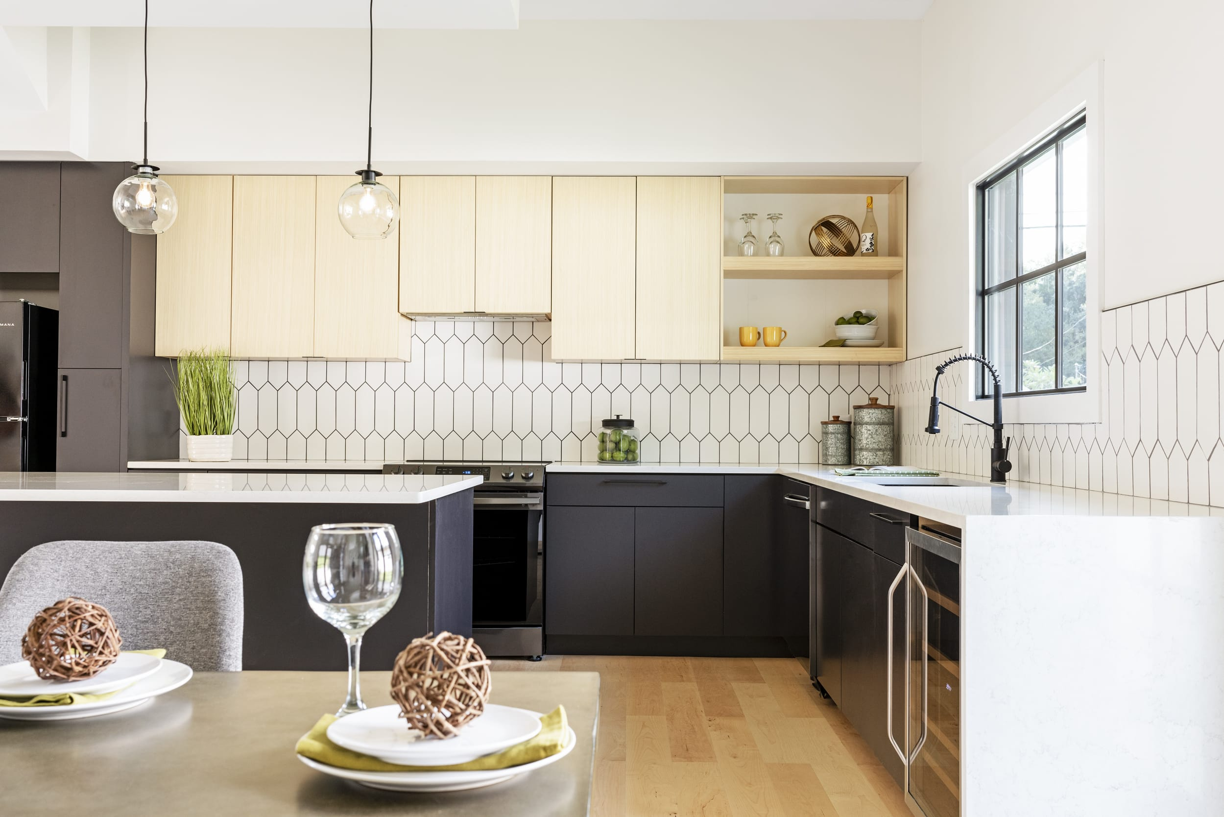 Black White Kitchen Contemporary Dining