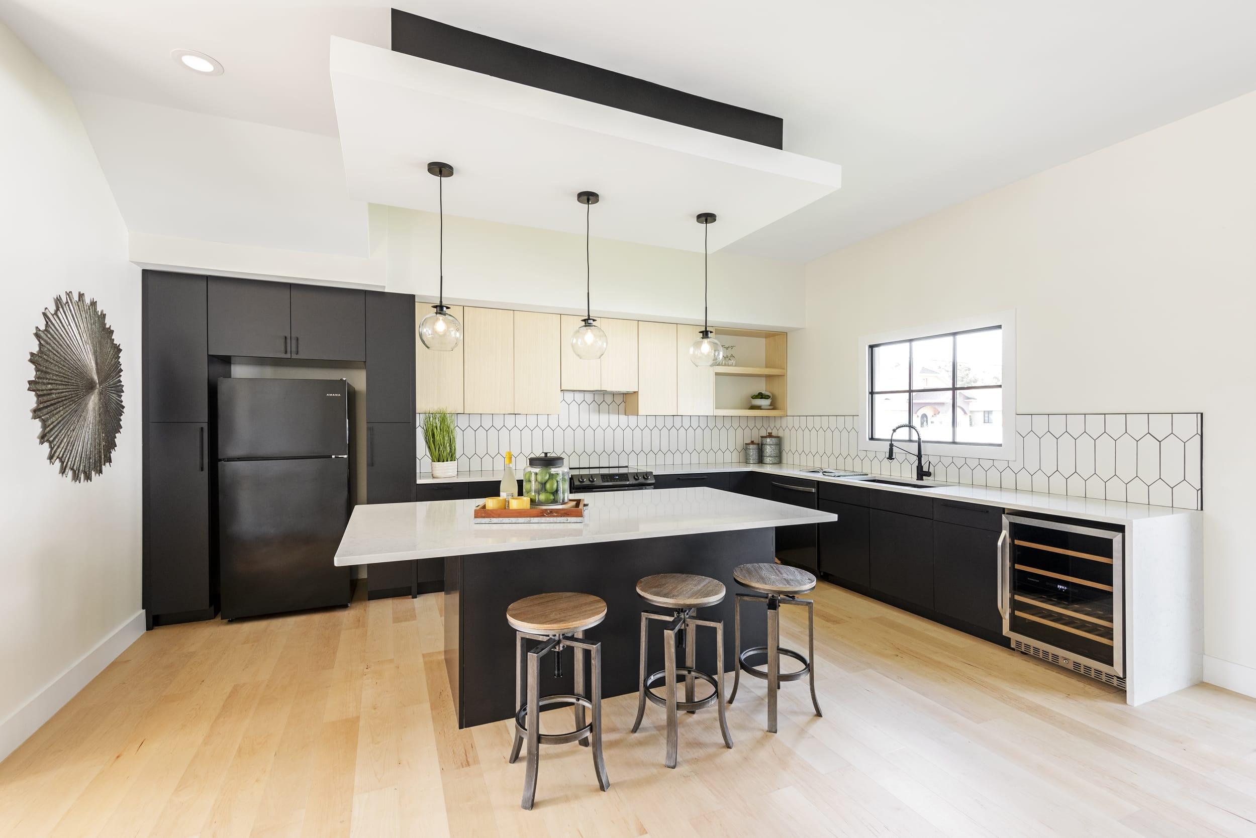 Black White Kitchen Contemporary Industrial