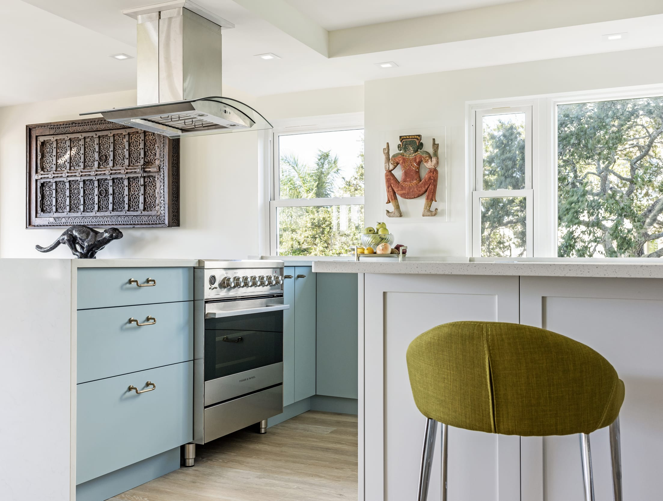 Kitchen Light Blue Cabinets Pea Green High Chair Blonde Wood Floors