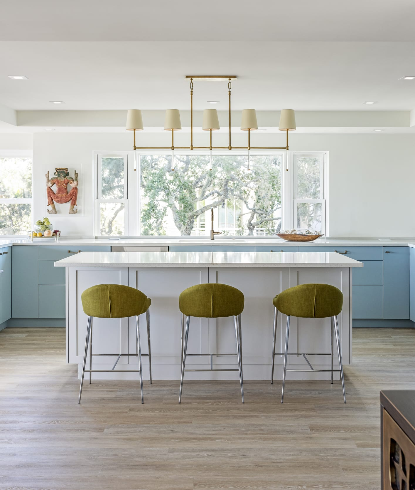 Kitchen Light Blue Cabinets Pea Green High Chairs Blonde Wood Floors Gold Painted Light Fixture