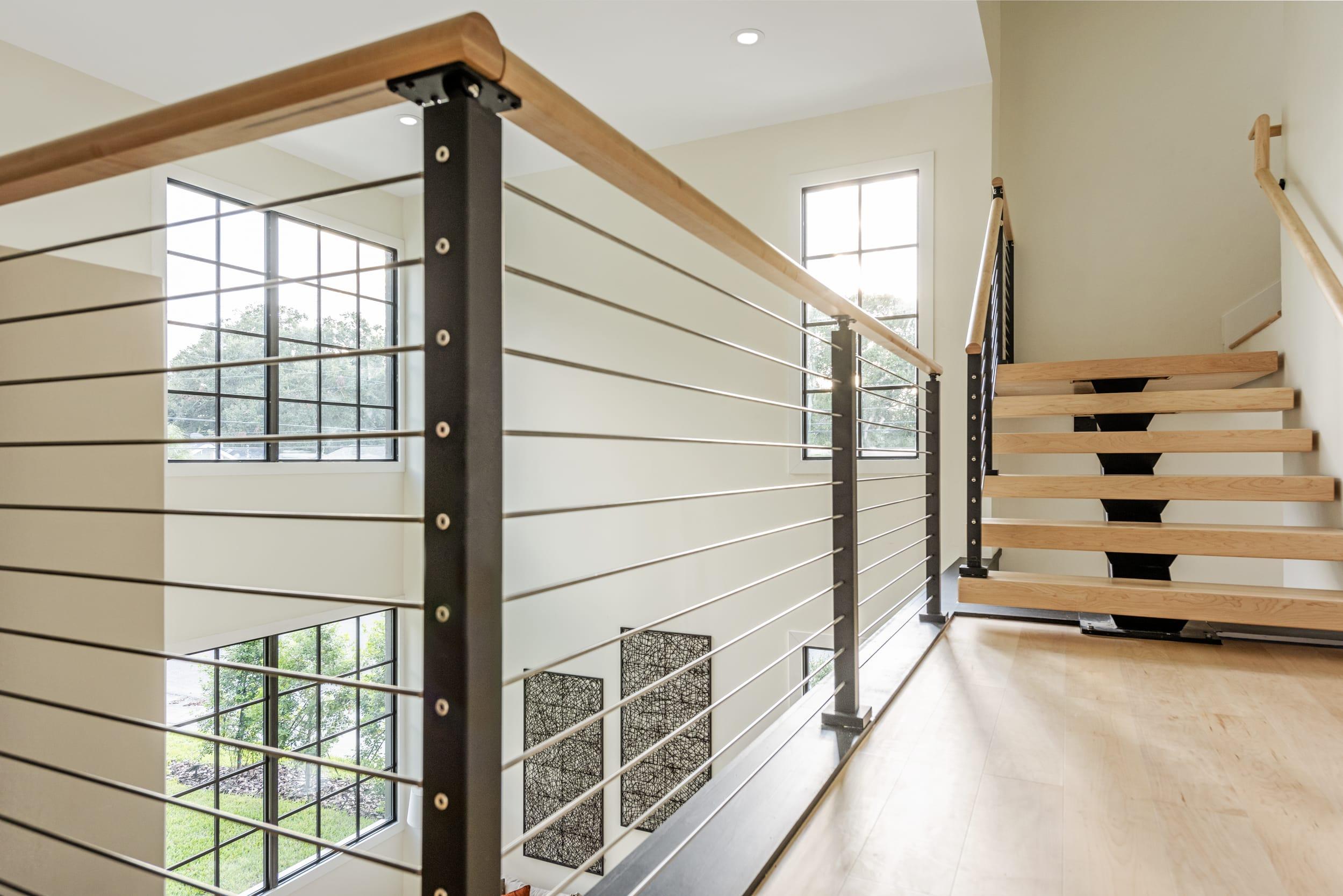 White Contemporary Cable Deck Railing Star Landing Farmhouse Windows Angle