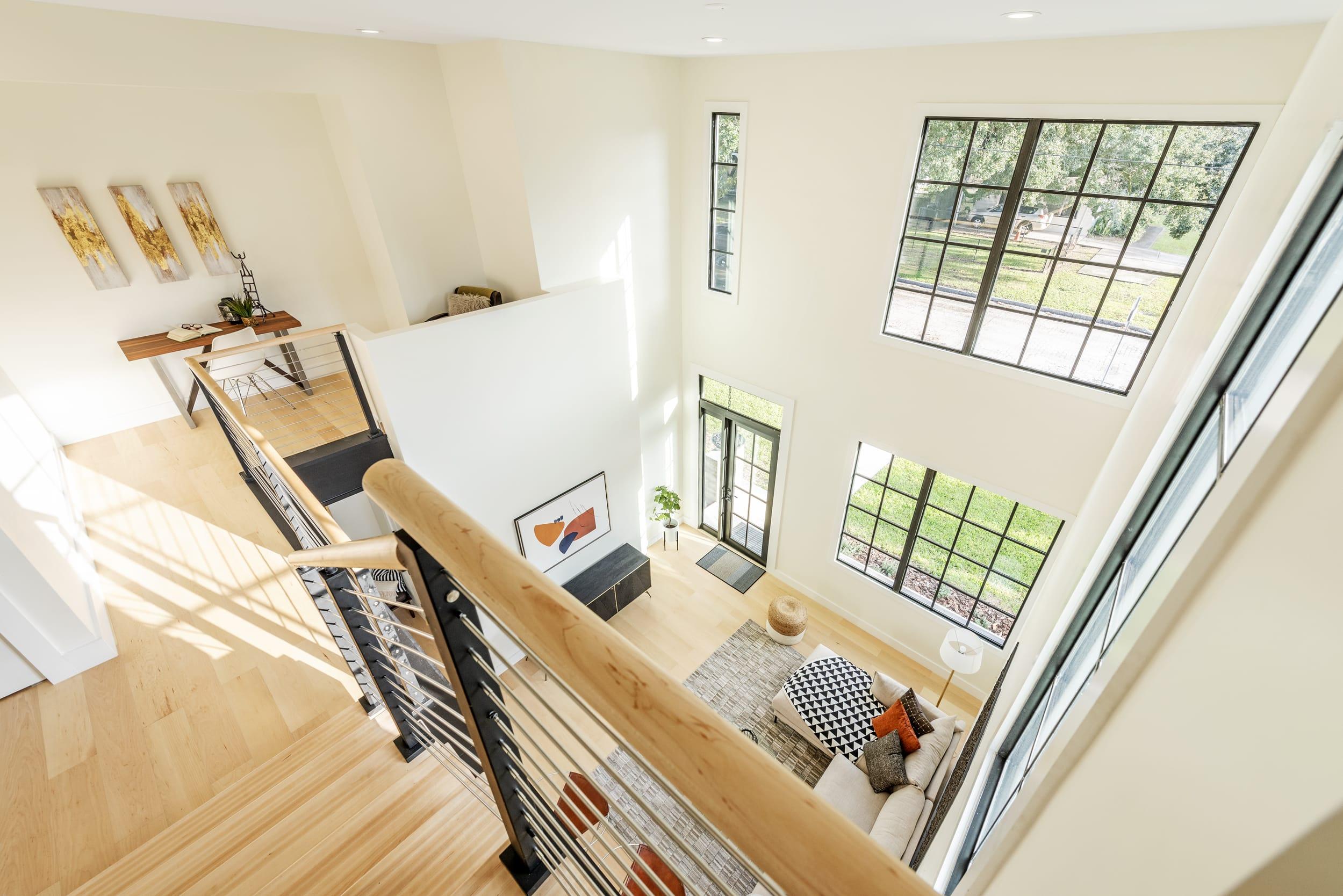 White Contemporary Stair Landing Livingroom Large Farmhouse Windows