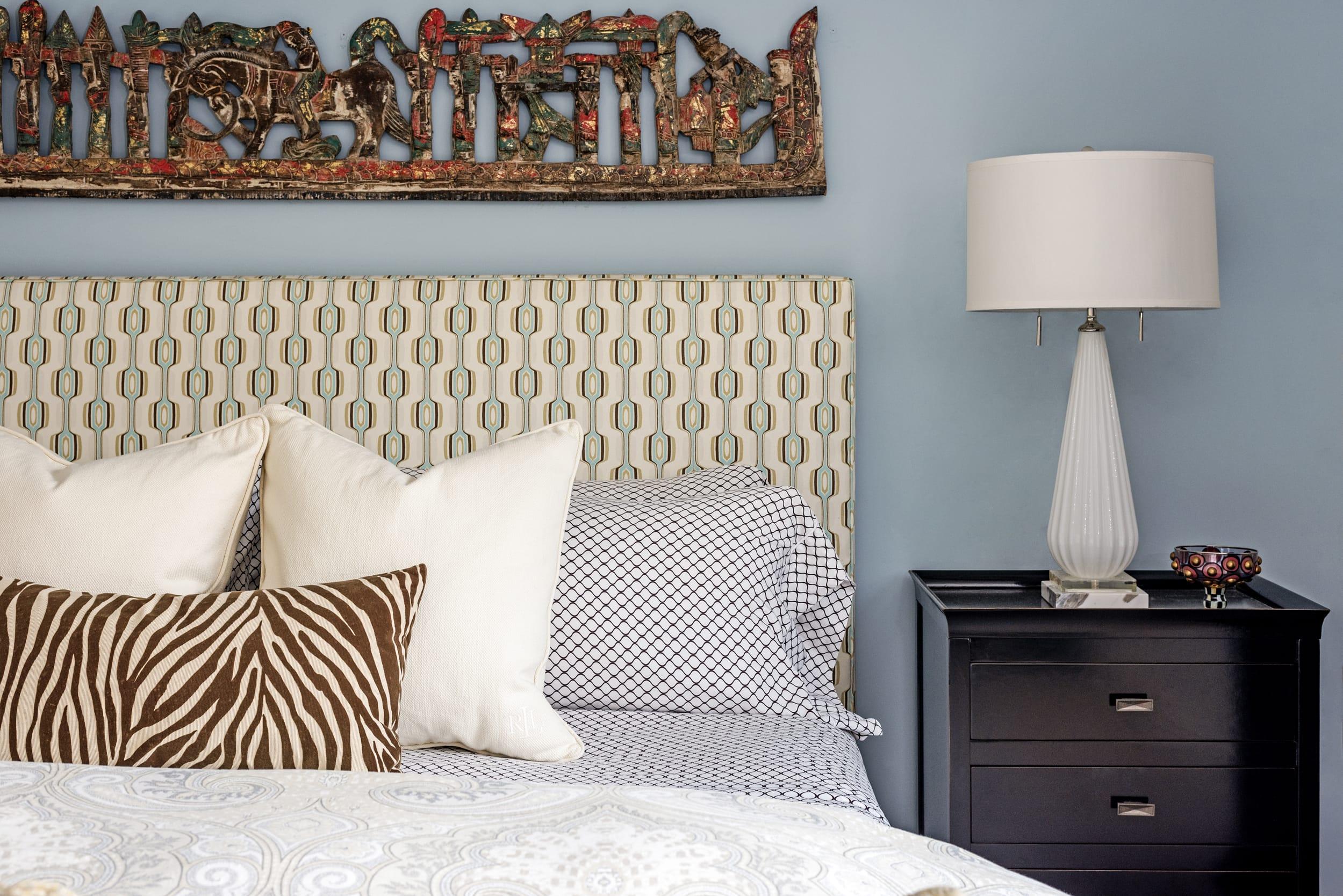 Zebra Skin Pillow Bed Vignette White Lamp Shade Gloss Black Bedside Cabinet
