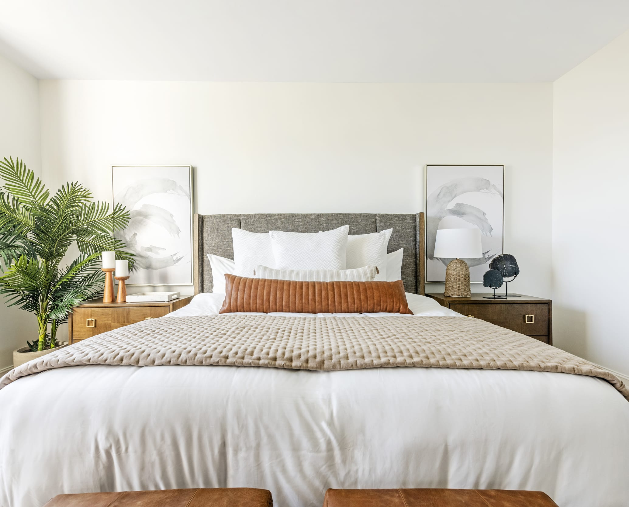 Bedroom Nutral Organic Colors Leather Stalls White Walls Head On
