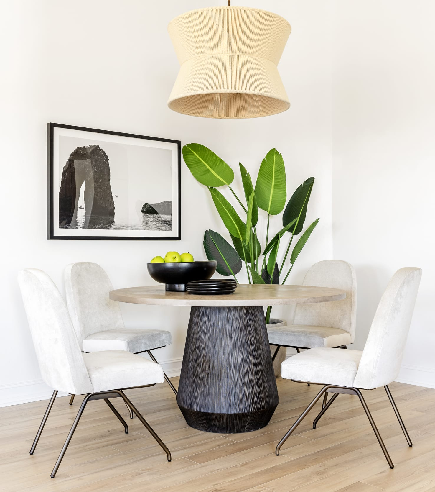 Minimal Neutral Natural Organic Dinning Table Wicker Lamp Shade