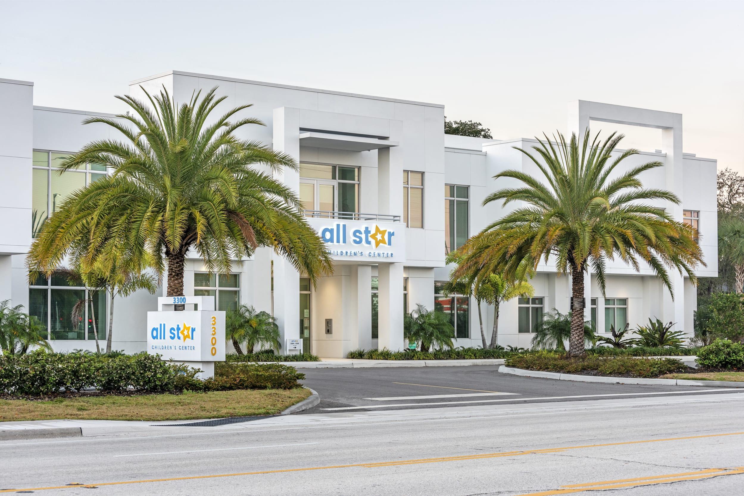 Exterior All Star Children's Center Palm Trees Crop