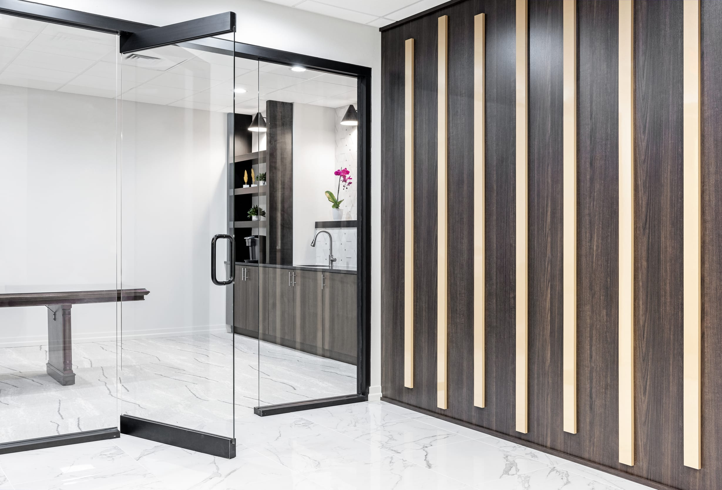 Hazelnut Panel With Caramel Lines Black Famed Glass Panel And Door Coffee Room