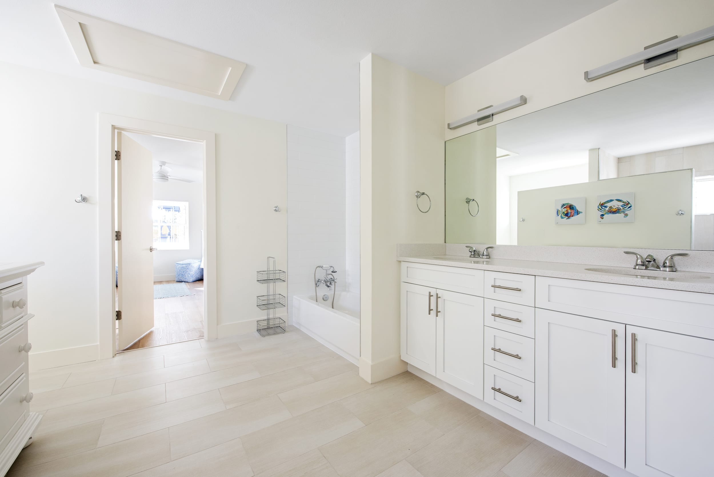 His And Her Bathroom White Cabinets Mirror