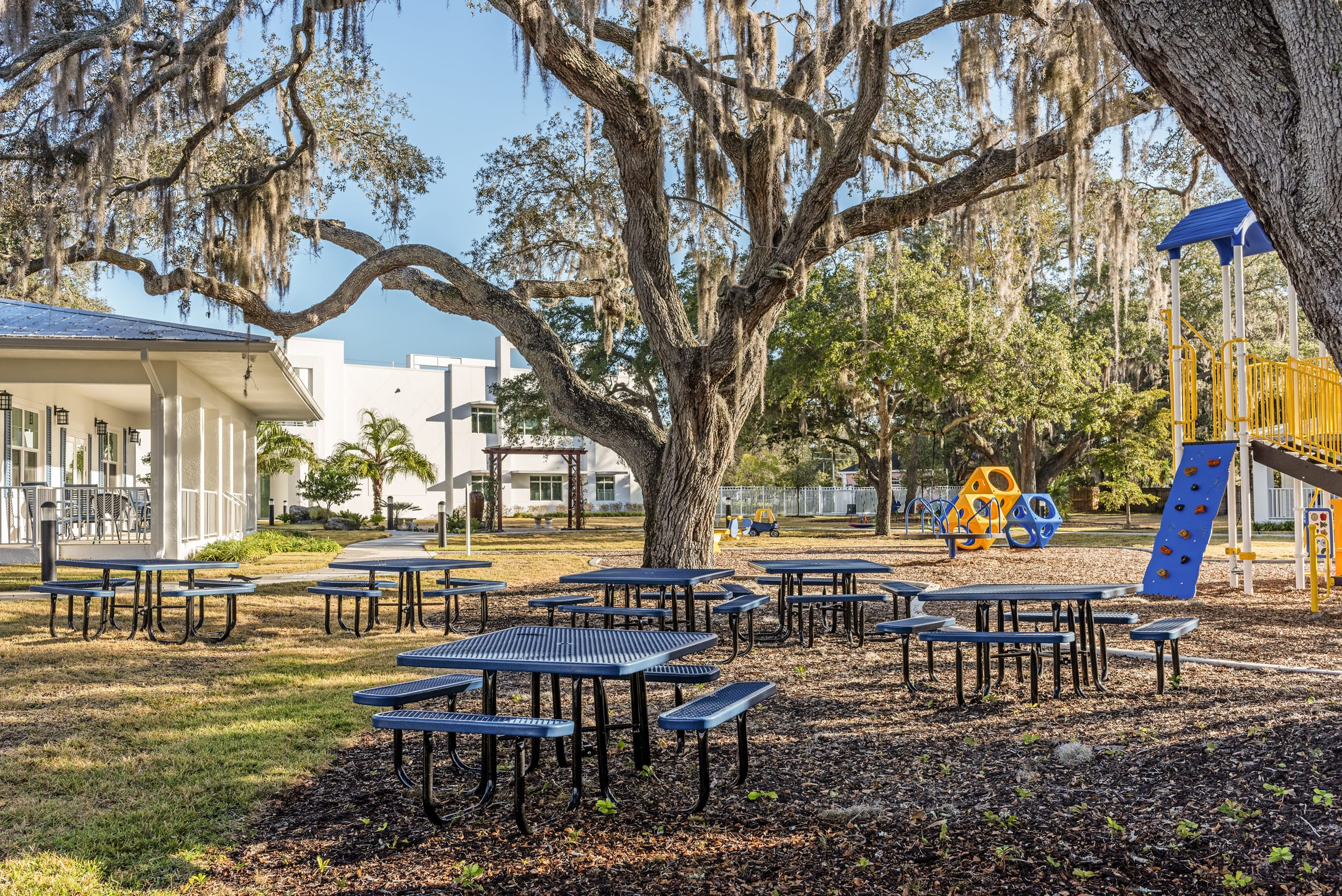 Picnic Tables Oak Tree Children's Play Area