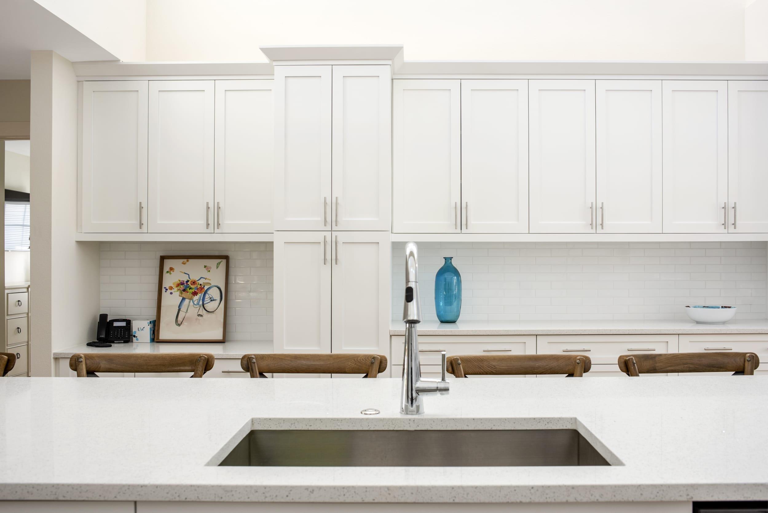 Sink White Island Cabinets Blue Glass Vase