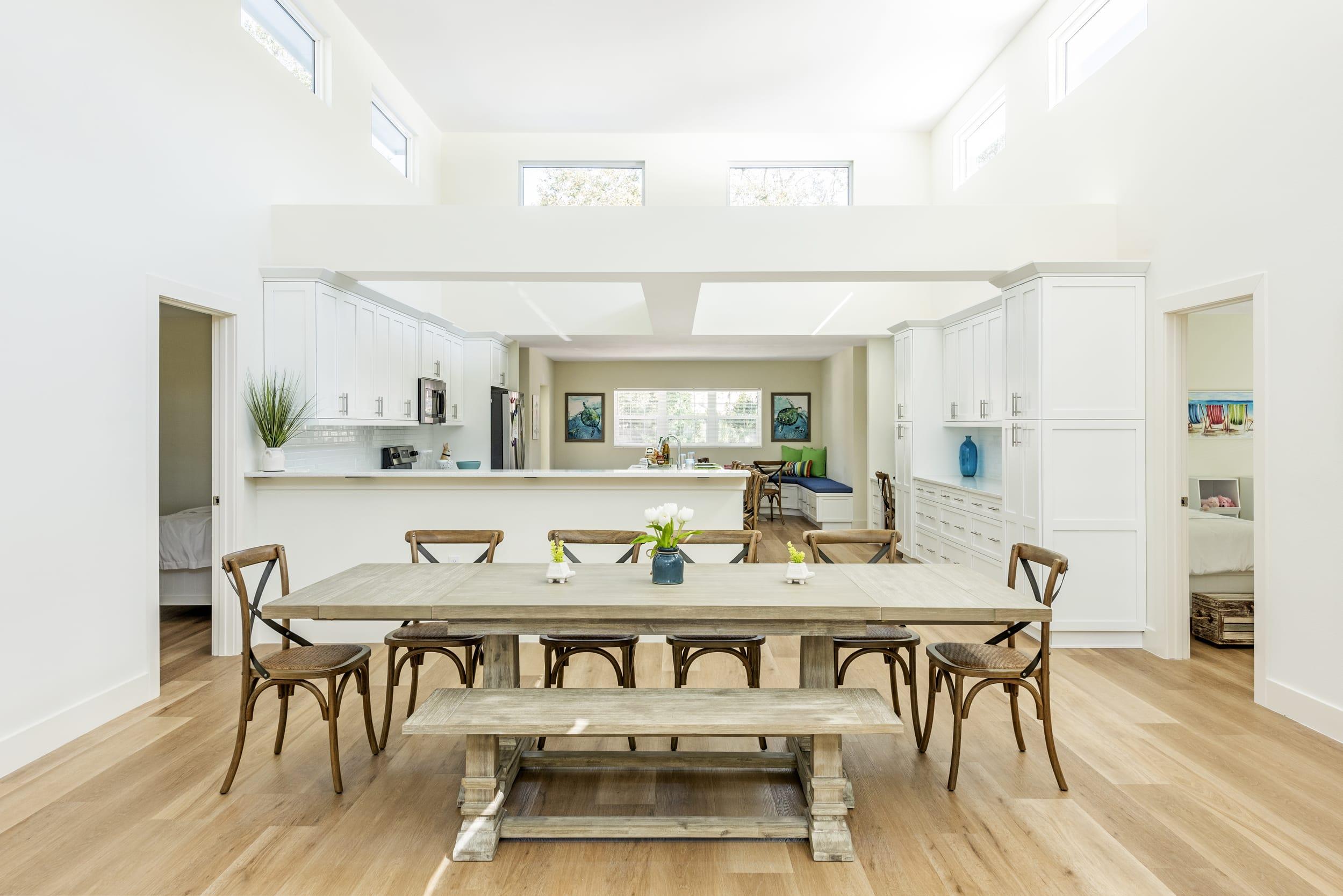 Wood Dinning Table Bench Floors Blue Glass Vase